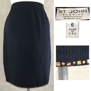 St John Evening Black Knit Skirt Sequins Border